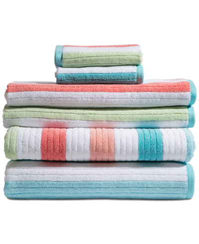 Caro Home Karissa Cotton 6-Pc. Textured-Stripe Bath Towel Set