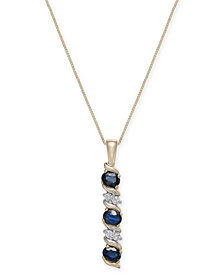 Sapphire (9/10 ct. t.w.) & Diamond Accent Pendant Necklace in 14k Gold