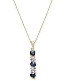 Sapphire (9/10 ct. t.w.) & Diamond Accent Pendant Necklace in 14k Gold
