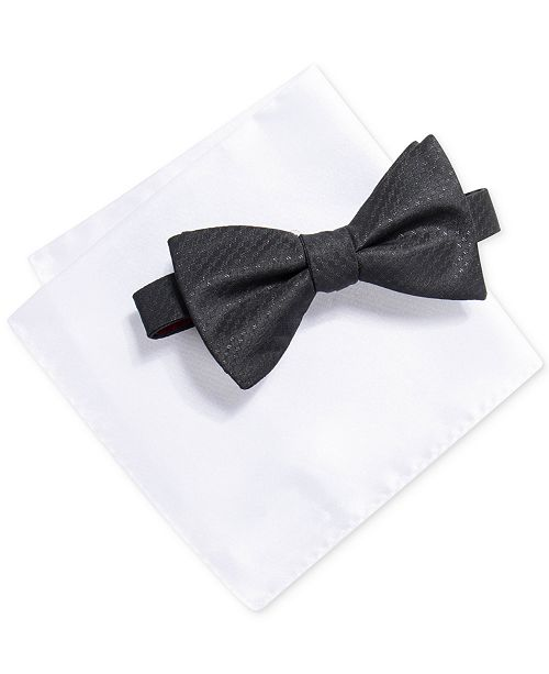 Alfani Men's Solid Bow Tie & Pocket Square Set, Created for Macy's