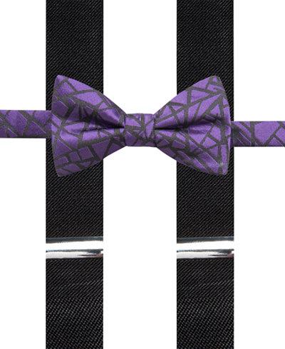 Alfani Men's Geometric Bow Tie & Suspender Set, Created for Macy's
