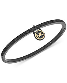 Michael Kors Rose Gold-Tone Pavé Logo Lock Bangle Bracelet