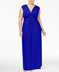 Trendy Plus Size Sleeveless Knotted Maxi Dress