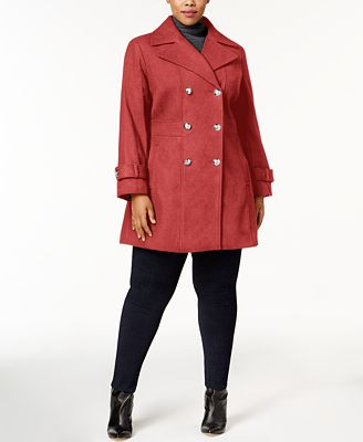 tommy hilfiger plus size double-breasted skirted peacoat - coats
