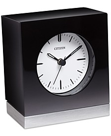 Workplace Black Wood & Silver-Tone Metal Clock