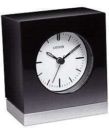 Citizen Workplace Black Wood & Silver-Tone Metal Clock