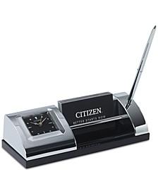 Executive Suite Silver-Tone Metal & Black Crystal Desk Clock