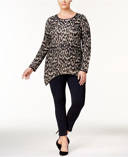 51be078cd8fc8 INC International Concepts I.N.C. Plus Size Leopard-Print Tunic ...