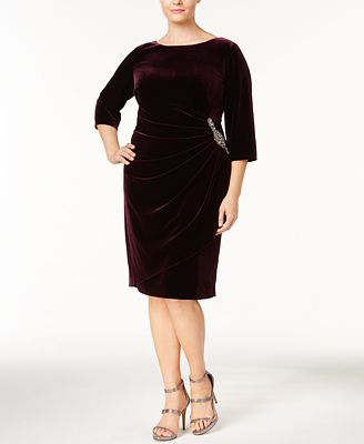 Alex Evenings Plus Size Velvet Draped Brooch Dress