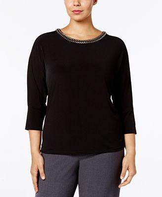 Calvin Klein Plus Size Chain-Trimmed Top