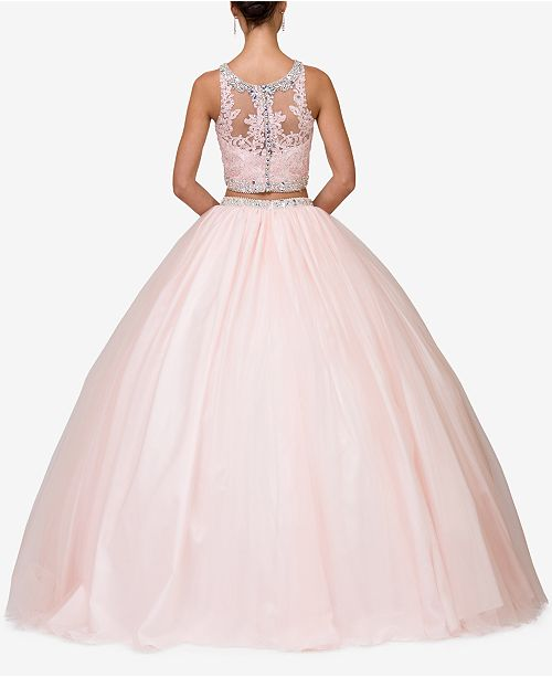 Juniors' Embellished Queen Dancing Blush Gown 2 Pc Lace xwSpFpd