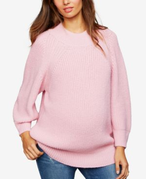 CENTRAL PARK WEST Maternity Crew-Neck Sweater in Pink