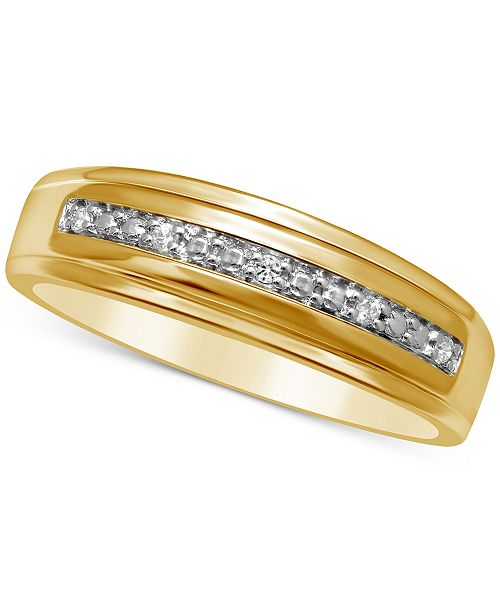 Macy's Men's Diamond Accent Wedding Band in 14k Gold