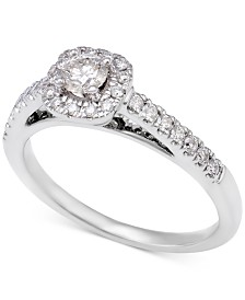diamond halo engagement ring 12 ct tw in 14k white gold - Halo Wedding Ring