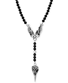 Men's Onyx Beaded Wing and Raven Skull Pendant Necklace in Sterling Silver