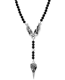 King Baby Men's Onyx Beaded Wing and Raven Skull Pendant Necklace in Sterling Silver