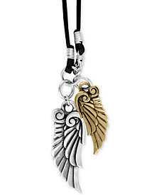 King Baby Men's Two-Tone Wing Pendant Necklace in Sterling Silver and Brass Alloy