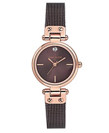 Women's Diamond-Accent Brown Stainless Steel Mesh Bracelet Watch 26mm