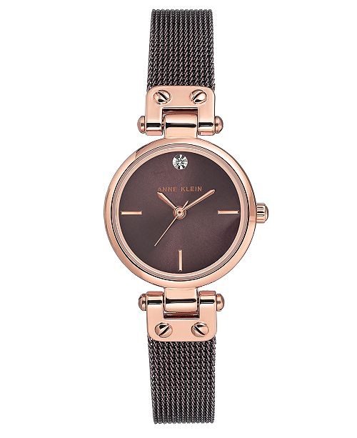 Anne Klein Women's Diamond-Accent Brown Stainless Steel Mesh Bracelet Watch 26mm