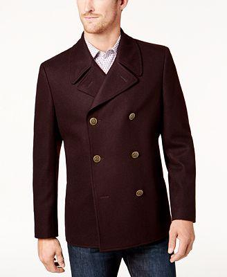 Tallia Men's Burgundy Pea Coat - Coats & Jackets - Men - Macy's