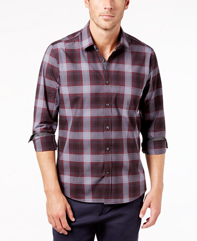 Ryan Seacrest Distinction™ Men's Gray/Port Plaid Pocket Shirt, Created for Macy's