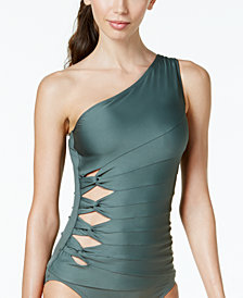 Carmen Marc Valvo One-Shoulder Cutout Tankini Top