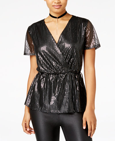 Be Bop Juniors' Sequined Faux-Wrap Top