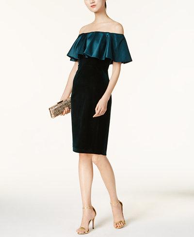 Adrianna Papell Velvet Off-The-Shoulder Dress