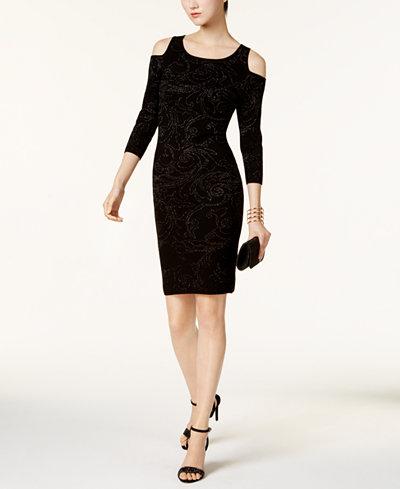Taylor Metallic Cold-Shoulder Sweater Dress