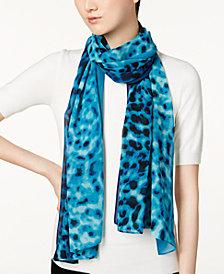 Calvin Klein Ombré Leopard-Print Chiffon Scarf
