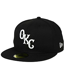 Oklahoma City Dodgers Black and White 59FIFTY Fitted Cap