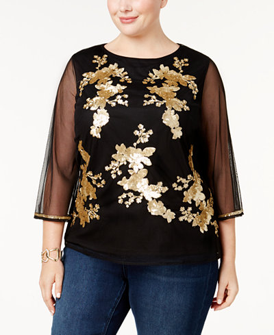 Charter Club Plus Size Embellished Mesh Top, Created for Macy's