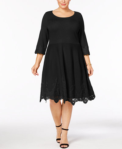 Charter Club Plus Size Lace-Hem Sweater Dress, Created for Macy's