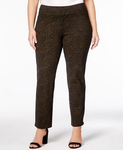 Charter Club Plus Size Printed Ponte Slim-Leg Pants, Created for Macy's
