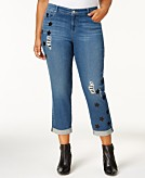 Style & Co Plus Size Ripped Boyfriend Jeans Created for Macys