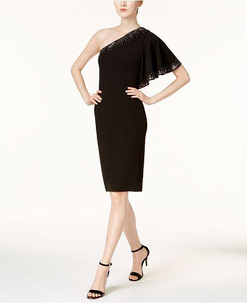 Calvin Klein Embellished One-Shoulder Dress