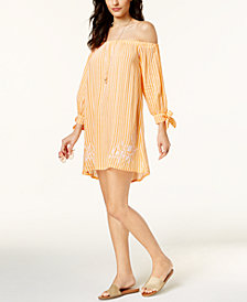 Jessica Simpson Cotton Candy Off-The-Shoulder Cover-Up