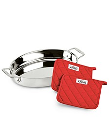 "Stainless Steel 15"" Oval Baker & Pot Holder Set"