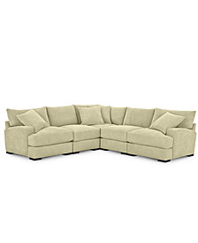 Rhyder 5-Pc. Fabric Sectional with Armless Chair - Custom Colors, Created for Macy's