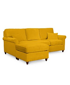 "Lidia 82"" Fabric 2-Pc. Reversible Chaise Sectional Sofa with Storage Ottoman - Custom Colors, Created for Macy's"