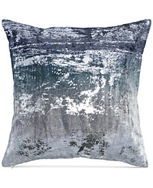 "Donna Karan  Home  Ocean Velvet Metallic Printed 18"" x 18"" Decorative Pillow"