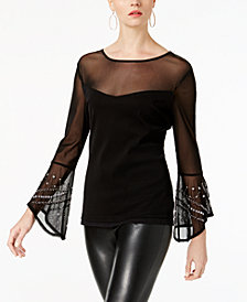 I.N.C. Embellished Bell-Sleeve Illusion Top, Created for Macy's
