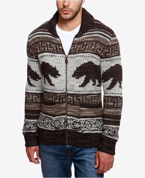188f62b2c06193 Lucky Brand Men's Zip-Front Bear Cardigan & Reviews - Sweaters ...