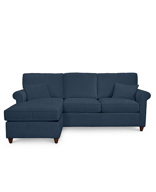 Lidia 82 Fabric 2 Pc Reversible Chaise Sectional Sofa With Storage Ottoman Custom Colors Created For Macy S