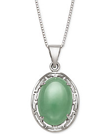 Dyed Jadeite Greek Key Pendant Necklace in Sterling Silver