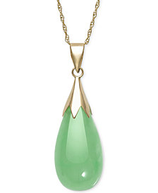 Dyed Jadeite (10 x 20mm) Elongated Teardrop Pendant Necklace in 10k Gold