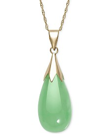 Dyed Jade  (10 x 20mm) Elongated Teardrop Pendant Necklace in 10k Gold
