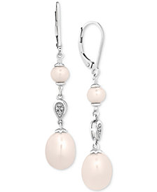 Cultured Freshwater Pearl (5 & 11mm) & Diamond Accent Drop Earrings in Sterling Silver