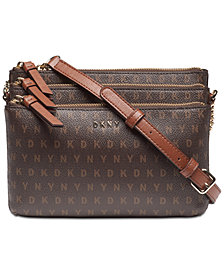 DKNY Bryant Signature Triple Zip Crossbody, Created for Macy's
