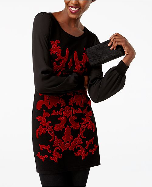 INC International Concepts I.N.C. Petite Velvet-Pattern Sweater, Created for Macy's